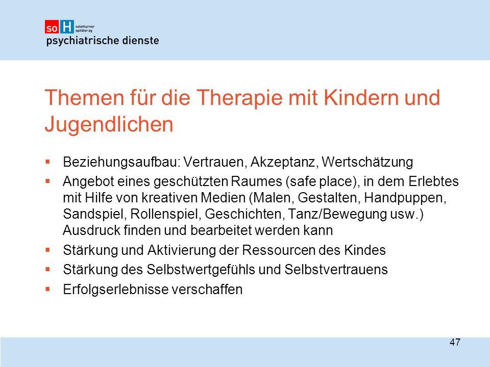 Themen für die Therapie mit Kindern und Jugendlichen
