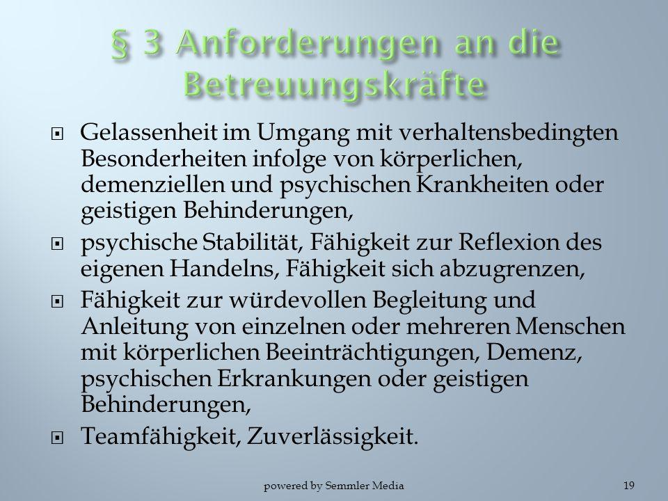 § 3 Anforderungen an die Betreuungskräfte