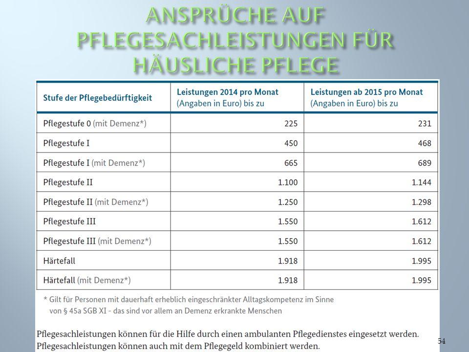 ANSPRÜCHE AUF PFLEGESACHLEISTUNGEN FÜR HÄUSLICHE PFLEGE