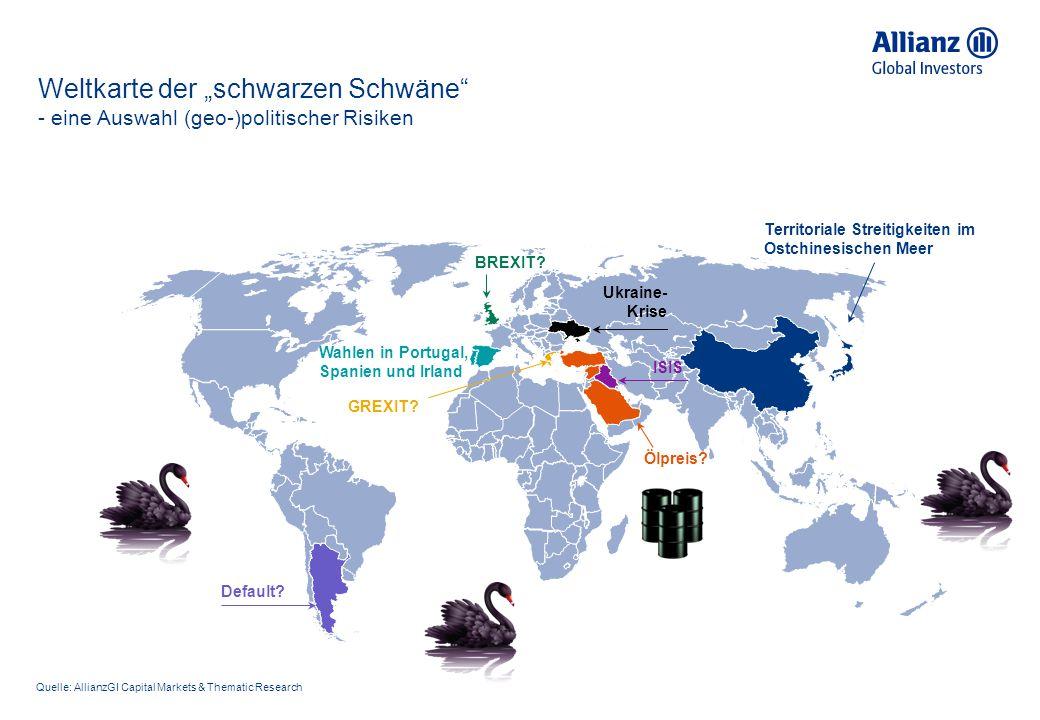 """Weltkarte der """"schwarzen Schwäne - eine Auswahl (geo-)politischer Risiken"""
