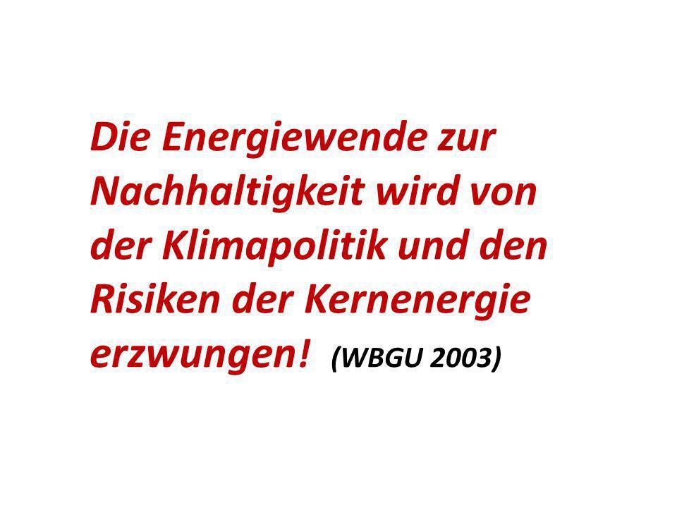 Die Energiewende zur Nachhaltigkeit wird von der Klimapolitik und den Risiken der Kernenergie erzwungen.