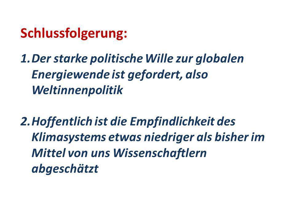 Schlussfolgerung: Der starke politische Wille zur globalen Energiewende ist gefordert, also Weltinnenpolitik.