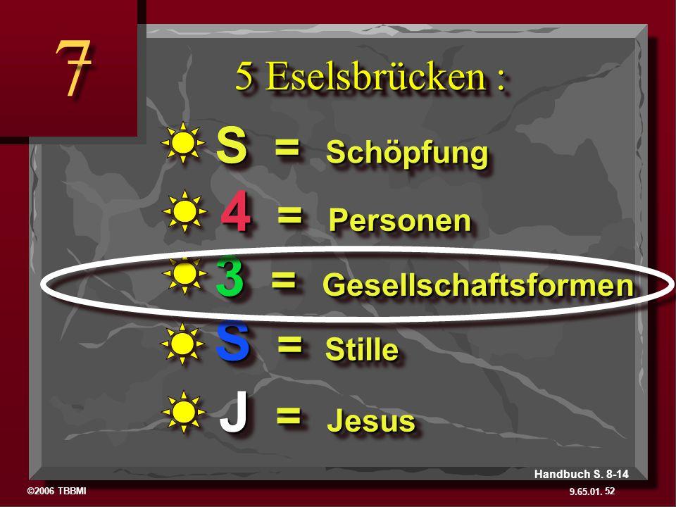 7 4 = Personen 3 = Gesellschaftsformen S = Stille J = Jesus