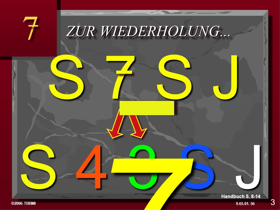 7 S 7 S J S 4 3 S J 7 To Review… ZUR WIEDERHOLUNG... 3