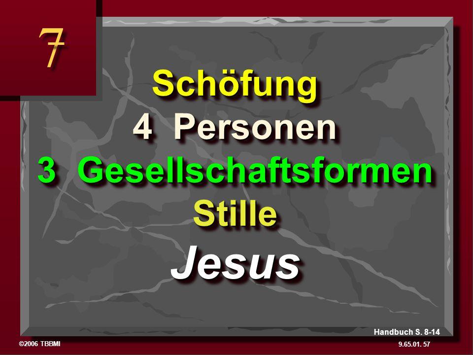 Schöfung 4 Personen 3 Gesellschaftsformen Stille Jesus