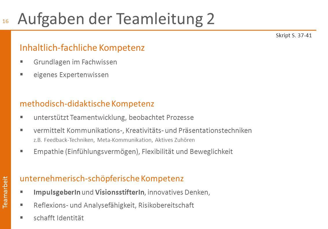 Aufgaben der Teamleitung 2