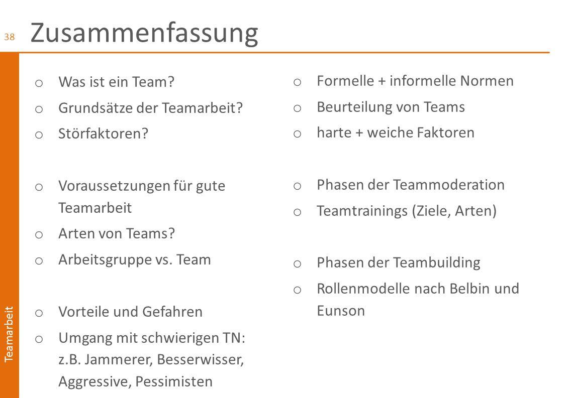 Zusammenfassung Was ist ein Team Formelle + informelle Normen