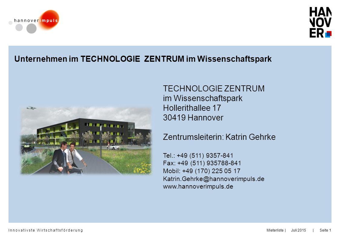 Unternehmen im TECHNOLOGIE ZENTRUM im Wissenschaftspark