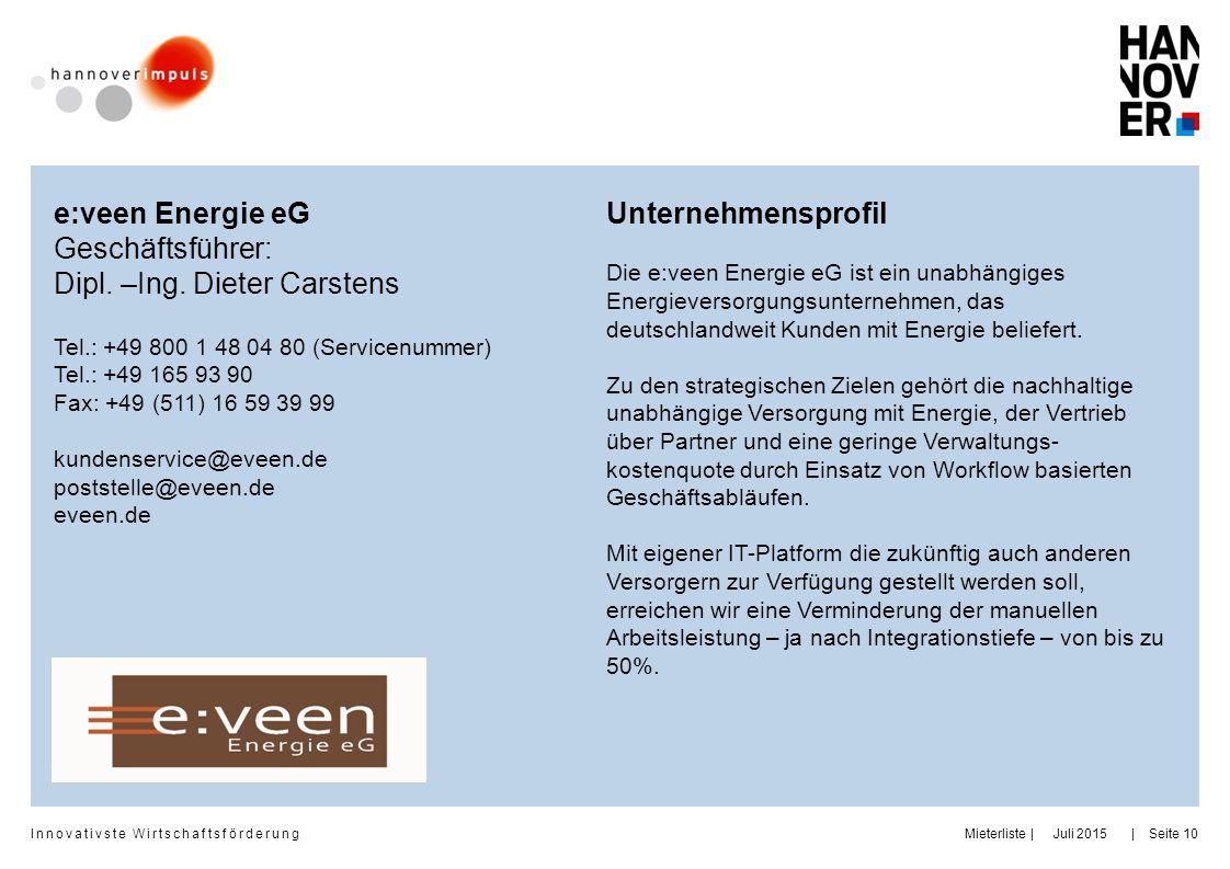 Dipl. –Ing. Dieter Carstens Unternehmensprofil