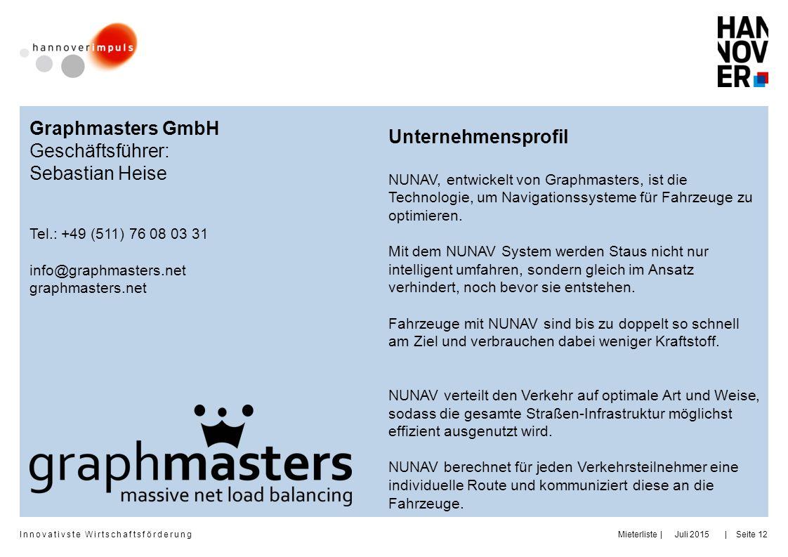 Graphmasters GmbH Unternehmensprofil Geschäftsführer: Sebastian Heise