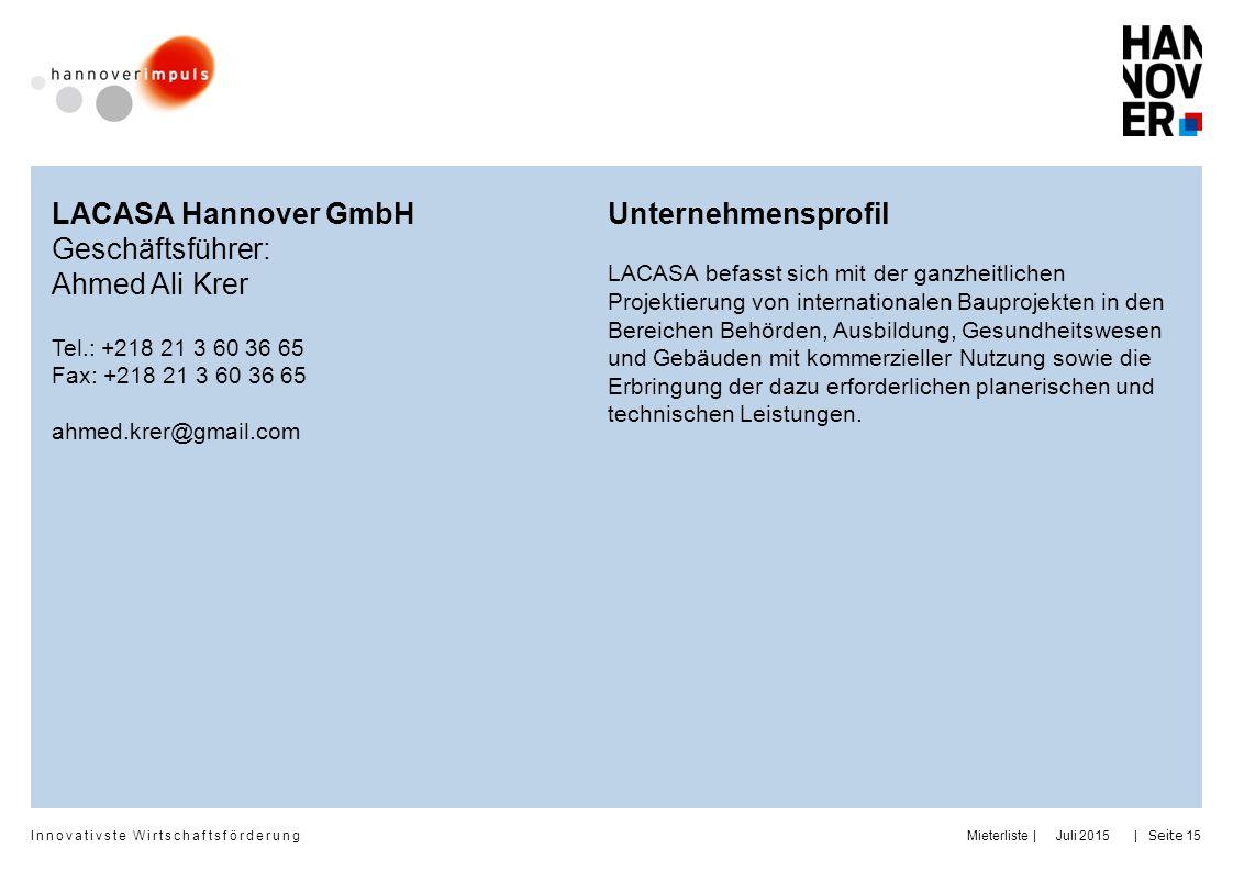 LACASA Hannover GmbH Geschäftsführer: Ahmed Ali Krer