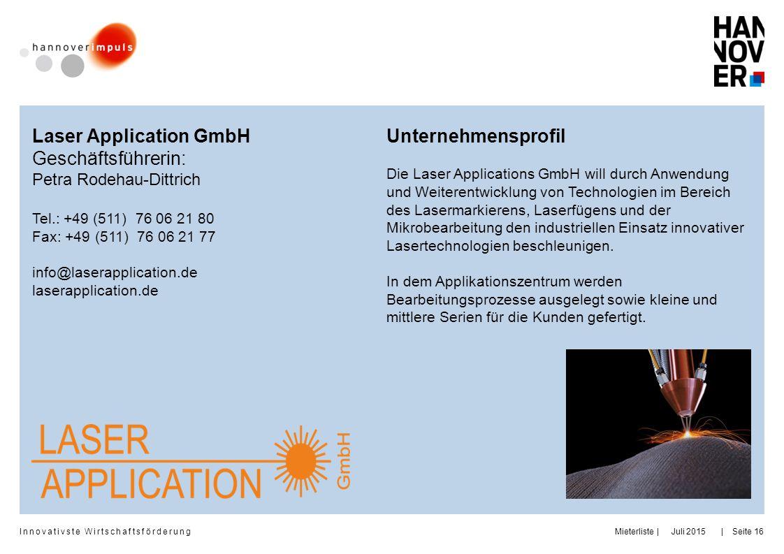 Laser Application GmbH Geschäftsführerin: Unternehmensprofil