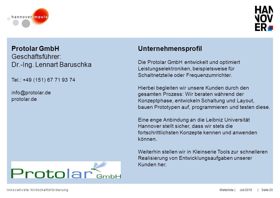 Dr.-Ing. Lennart Baruschka Unternehmensprofil