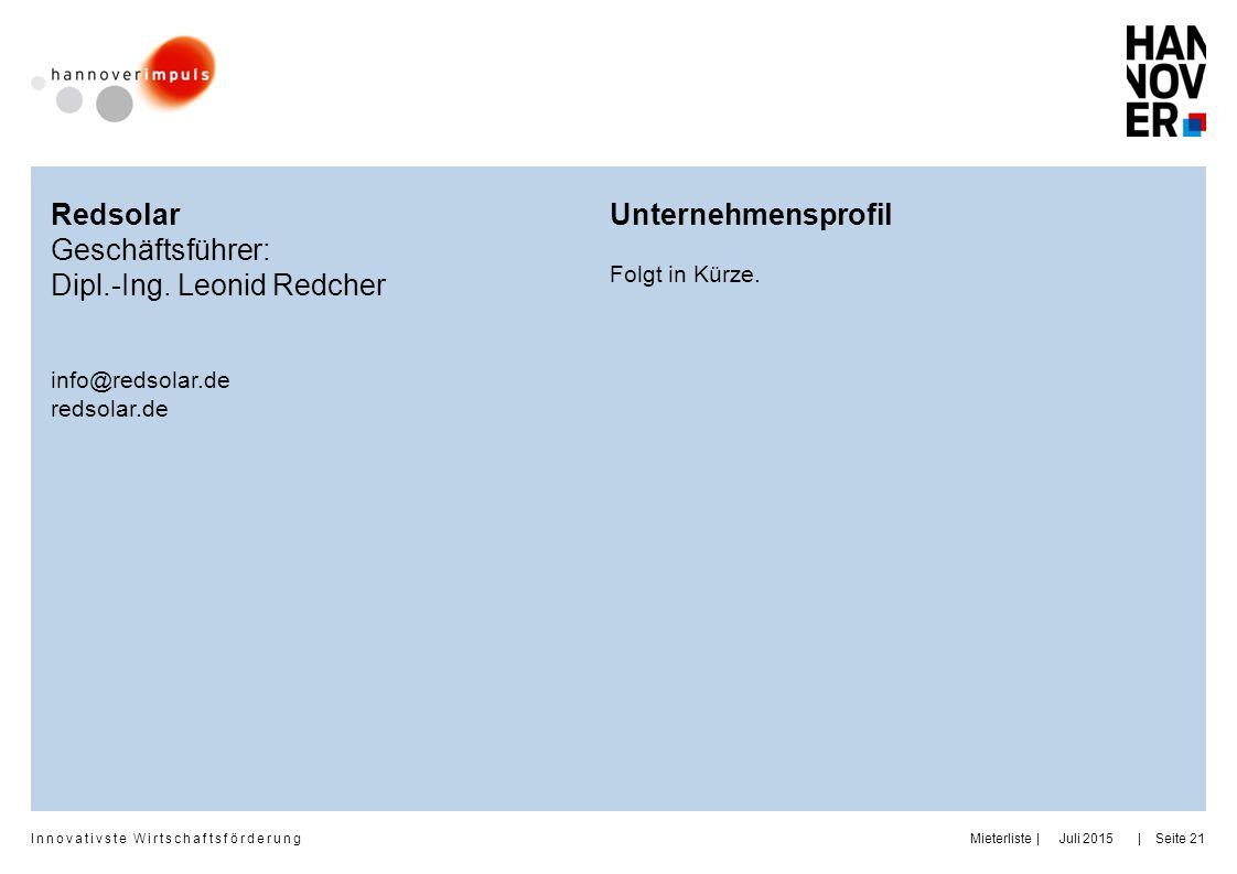Dipl.-Ing. Leonid Redcher Unternehmensprofil