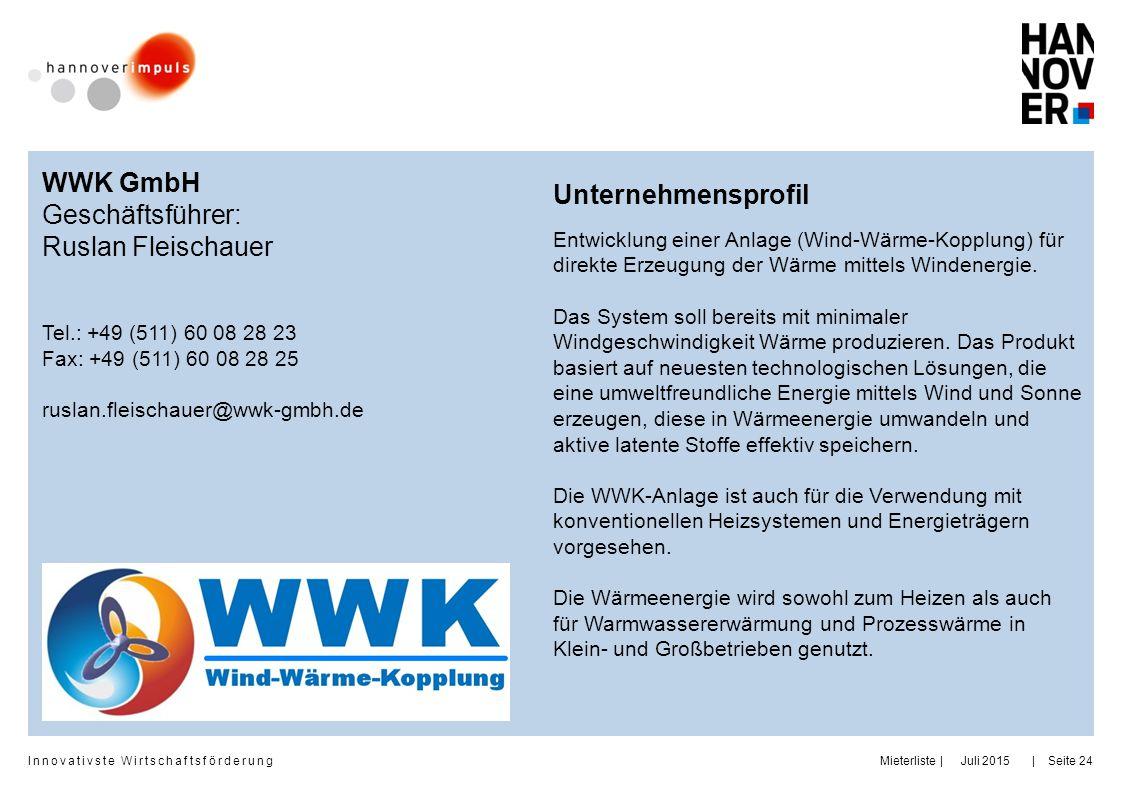 WWK GmbH Unternehmensprofil Geschäftsführer: Ruslan Fleischauer
