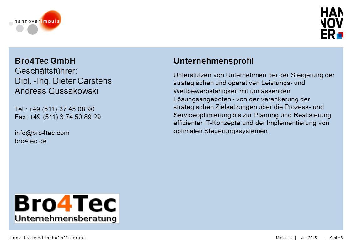 Dipl. -Ing. Dieter Carstens Andreas Gussakowski Unternehmensprofil