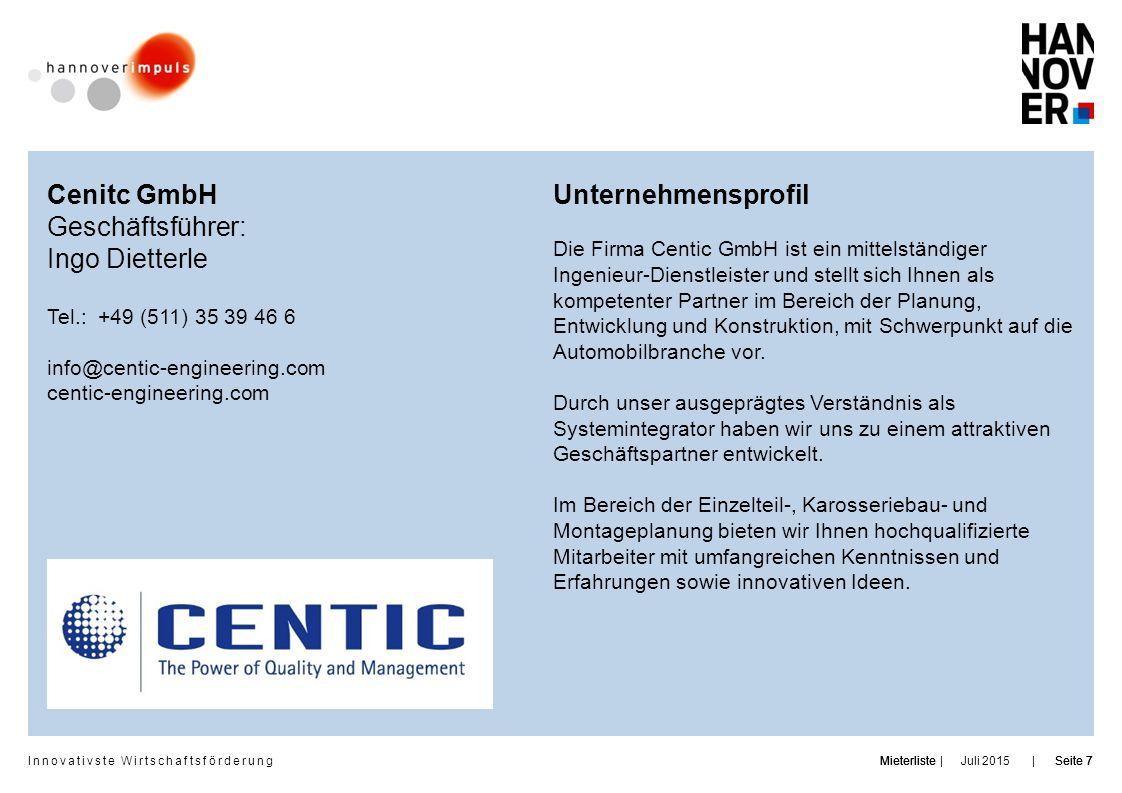 Cenitc GmbH Geschäftsführer: Ingo Dietterle Unternehmensprofil