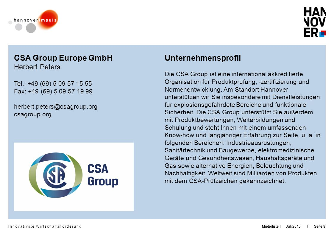 CSA Group Europe GmbH Unternehmensprofil Herbert Peters