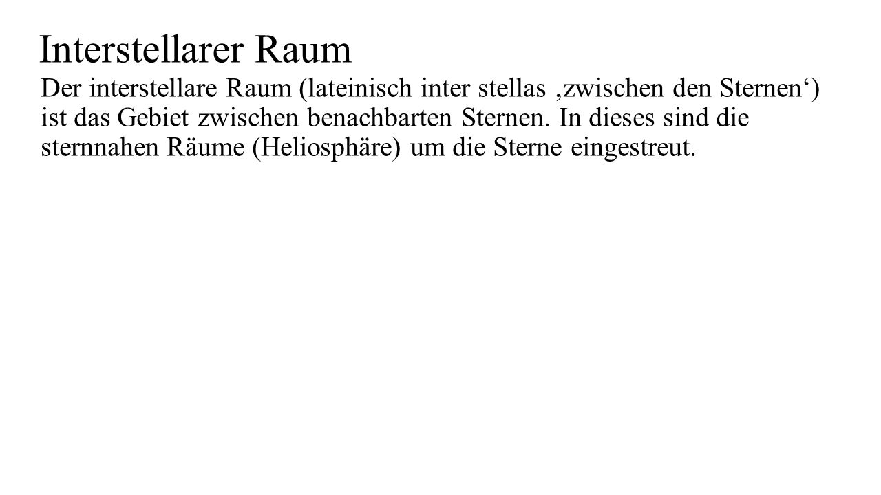 Interstellarer Raum