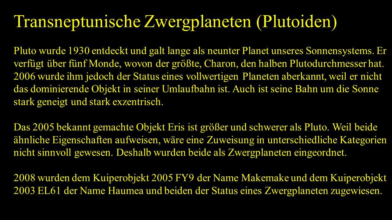 Transneptunische Zwergplaneten (Plutoiden)
