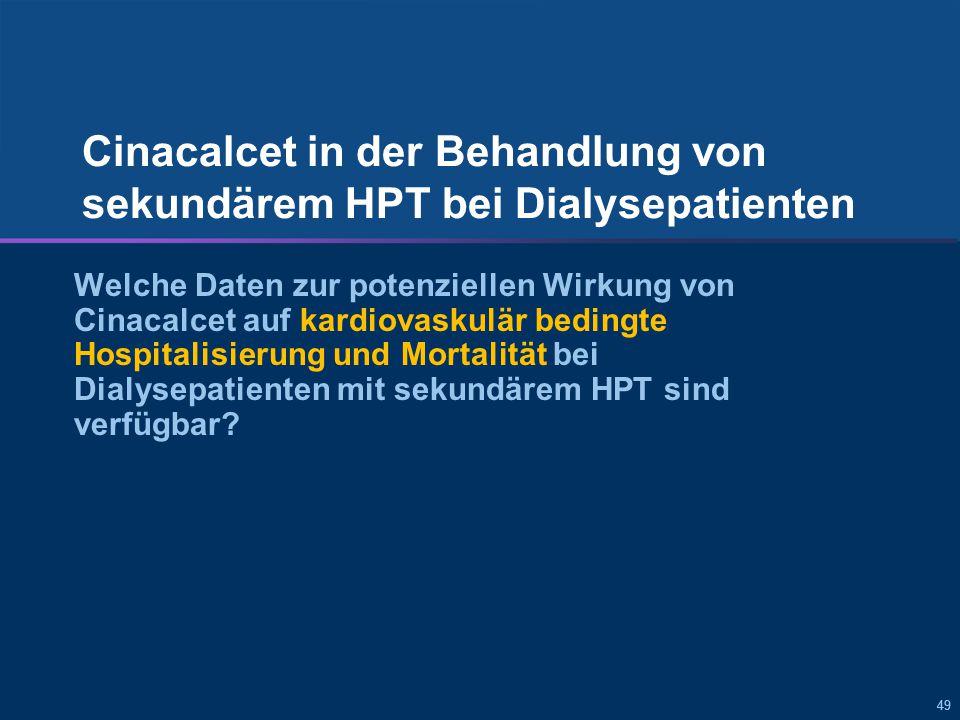 Cinacalcet senkte signifikant die kardiovaskulär bedingten Hospitalisierungsraten bei Dialysepatienten mit sekundärem HPT