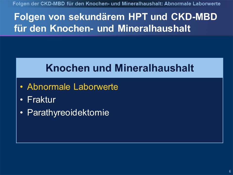 Folgen der CKD-MBD für den Knochen- und Mineralhaushalt: Abnormale Laborwerte