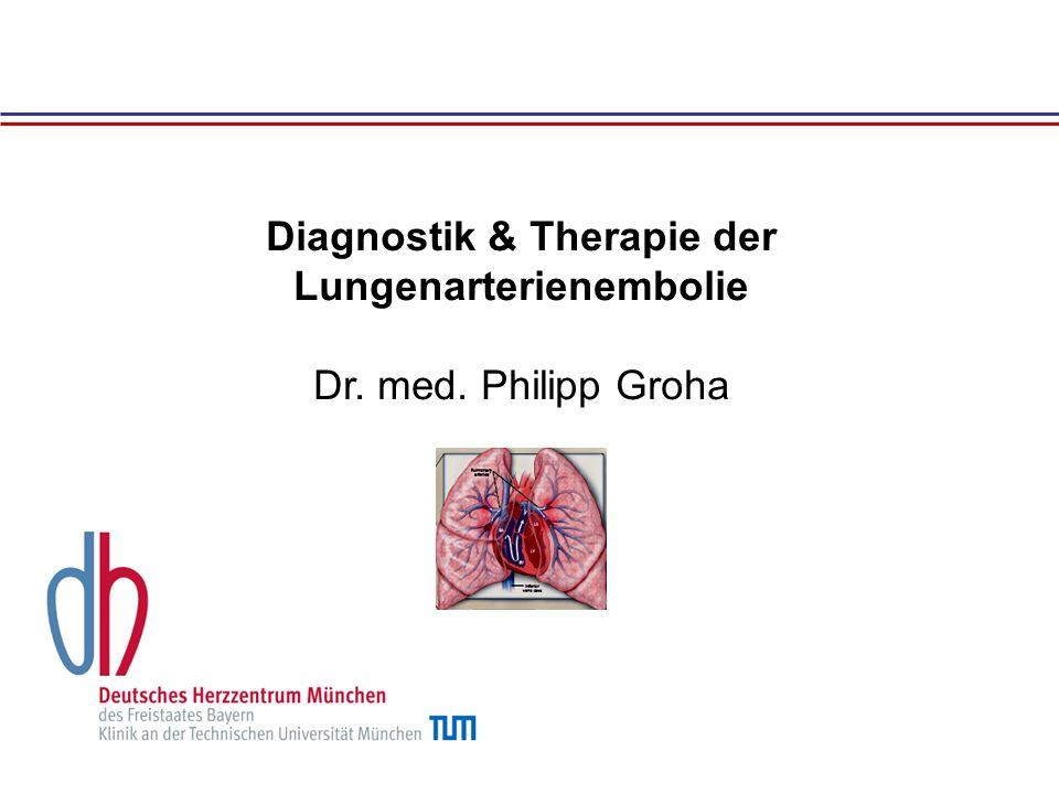 Diagnostik & Therapie der Lungenarterienembolie Dr. med. Philipp Groha