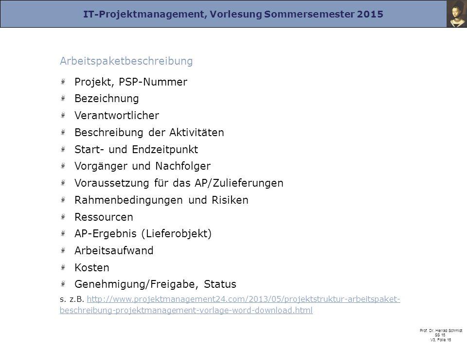 Arbeitspaketbeschreibung Projekt, PSP-Nummer Bezeichnung