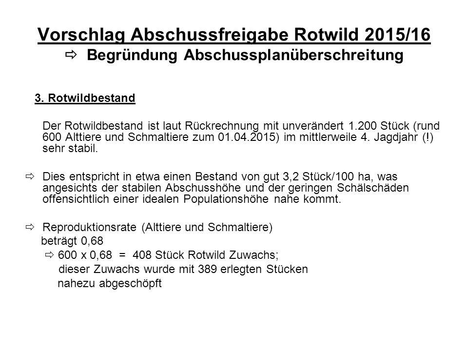 Vorschlag Abschussfreigabe Rotwild 2015/16  Begründung Abschussplanüberschreitung