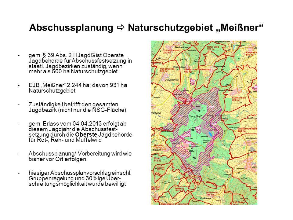 """Abschussplanung  Naturschutzgebiet """"Meißner"""