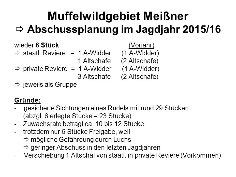 Muffelwildgebiet Meißner  Abschussplanung im Jagdjahr 2015/16