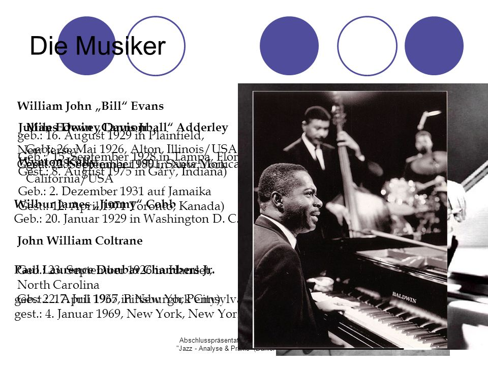 "Die Musiker William John ""Bill Evans"