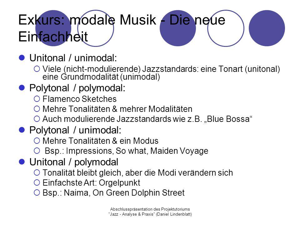 Exkurs: modale Musik - Die neue Einfachheit