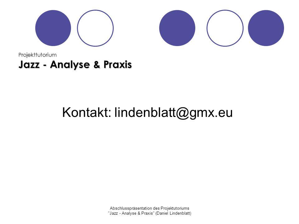 Projekttutorium Jazz - Analyse & Praxis