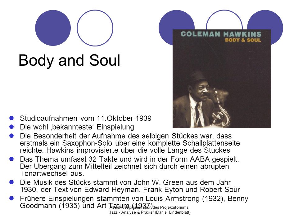 Body and Soul Studioaufnahmen vom 11.Oktober 1939