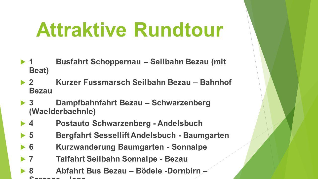 Attraktive Rundtour 1 Busfahrt Schoppernau – Seilbahn Bezau (mit Beat)