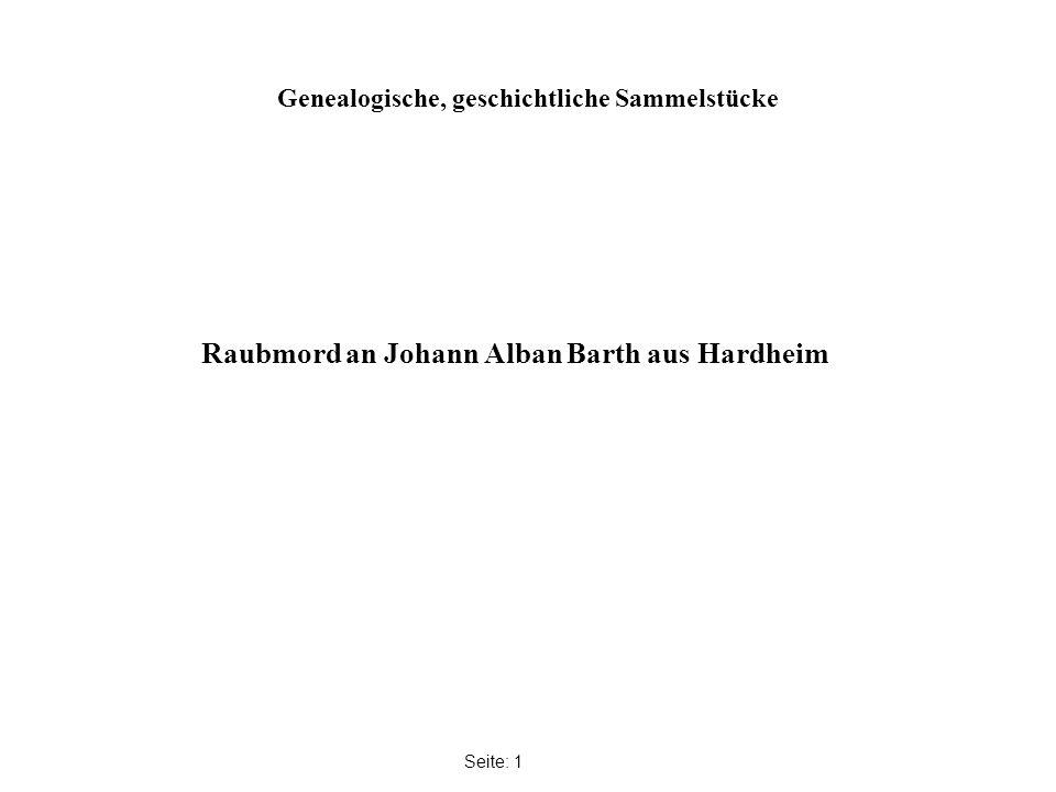 Genealogische, geschichtliche Sammelstücke