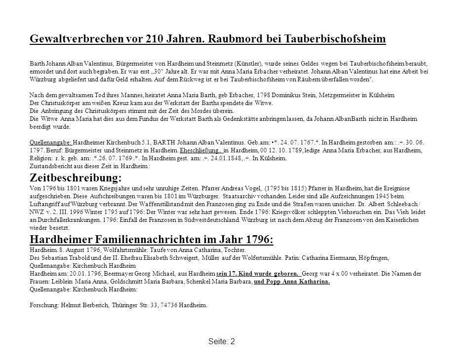 Gewaltverbrechen vor 210 Jahren. Raubmord bei Tauberbischofsheim