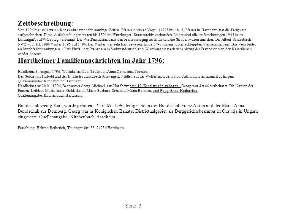 Hardheimer Familiennachrichten im Jahr 1796: