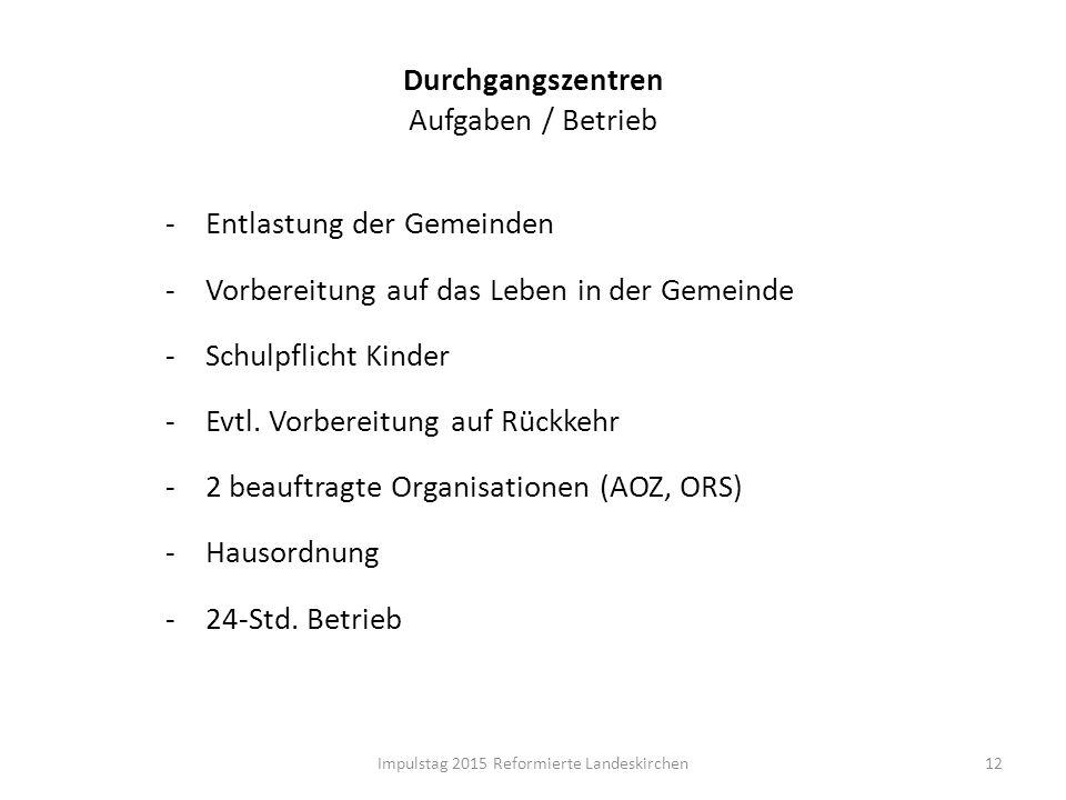 Durchgangszentren Aufgaben / Betrieb