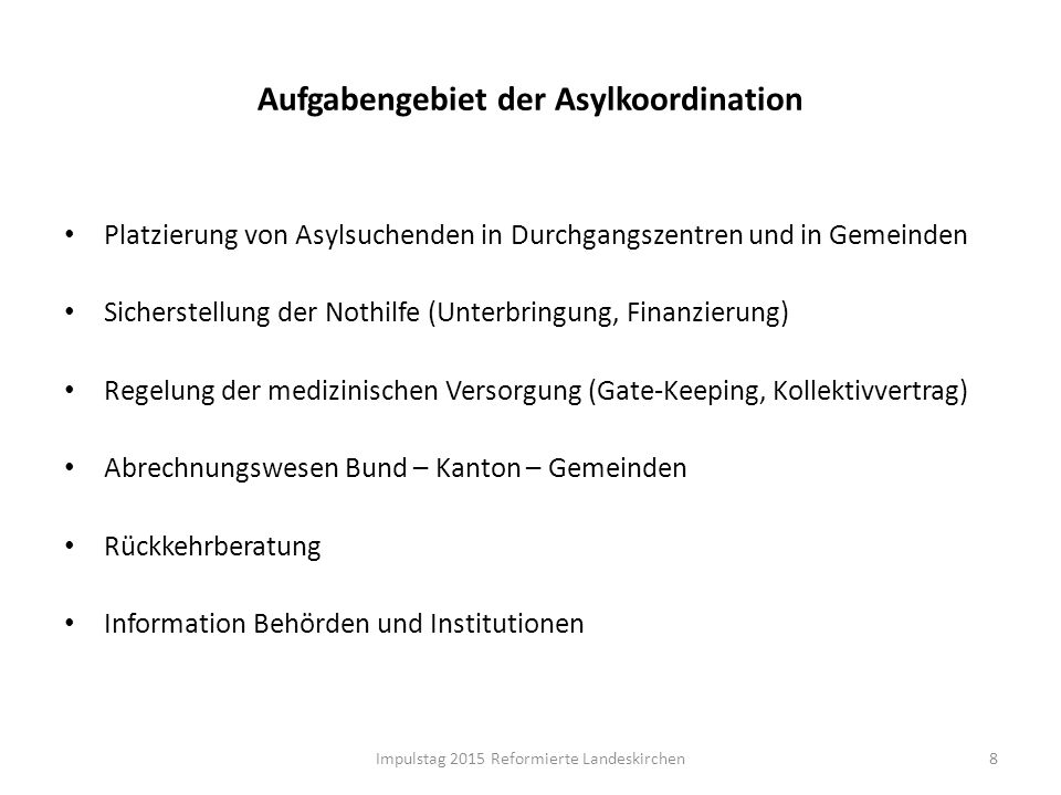 Aufgabengebiet der Asylkoordination