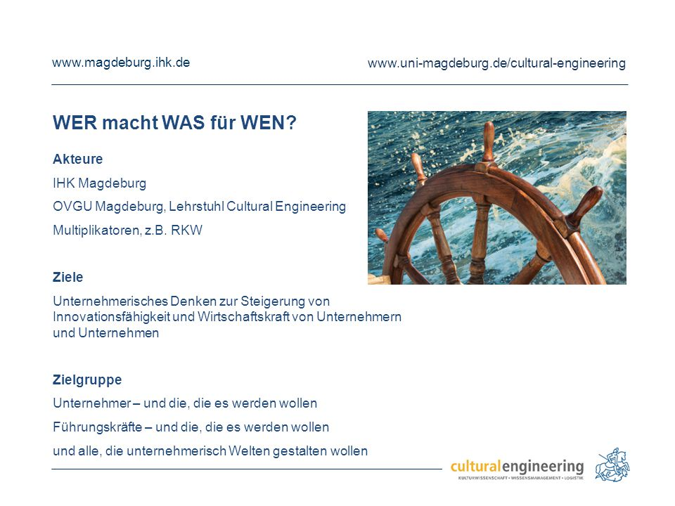WER macht WAS für WEN Akteure IHK Magdeburg