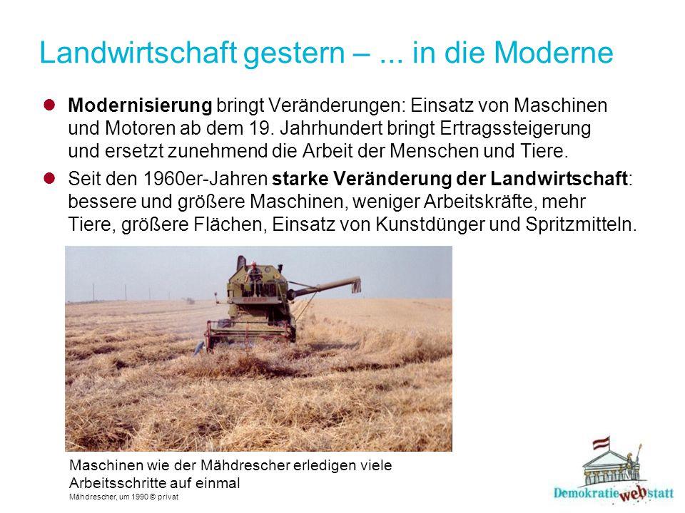 Landwirtschaft gestern – ... in die Moderne