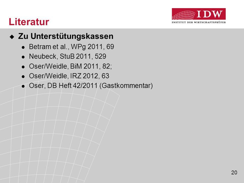 Literatur Zu Unterstütungskassen Betram et al., WPg 2011, 69