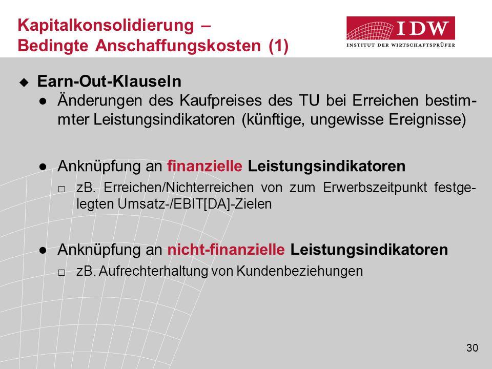 Kapitalkonsolidierung – Bedingte Anschaffungskosten (1)