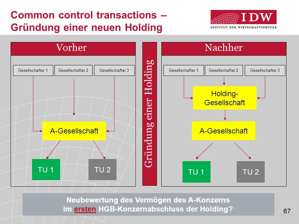 Common control transactions – Gründung einer neuen Holding