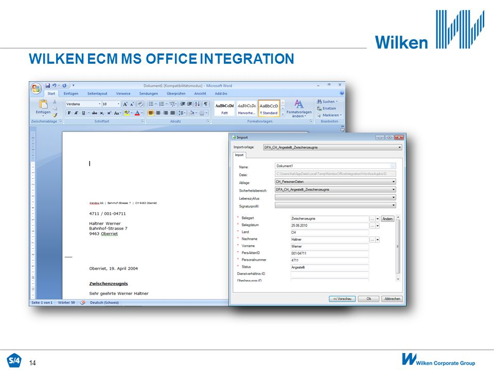 Wilken ecm MS OFFICE INTEGRATION