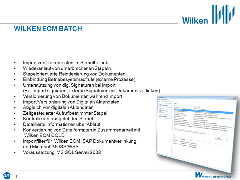 Wilken ecm BATCH Import von Dokumenten im Stapelbetrieb