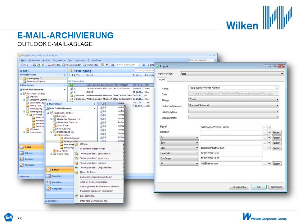 E-MAIL-ARCHIVIERUNG Outlook E-Mail-Ablage