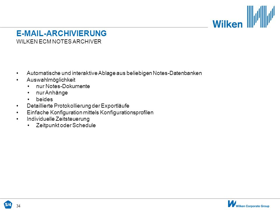 E-Mail-Archivierung Wilken ecm Notes archiver